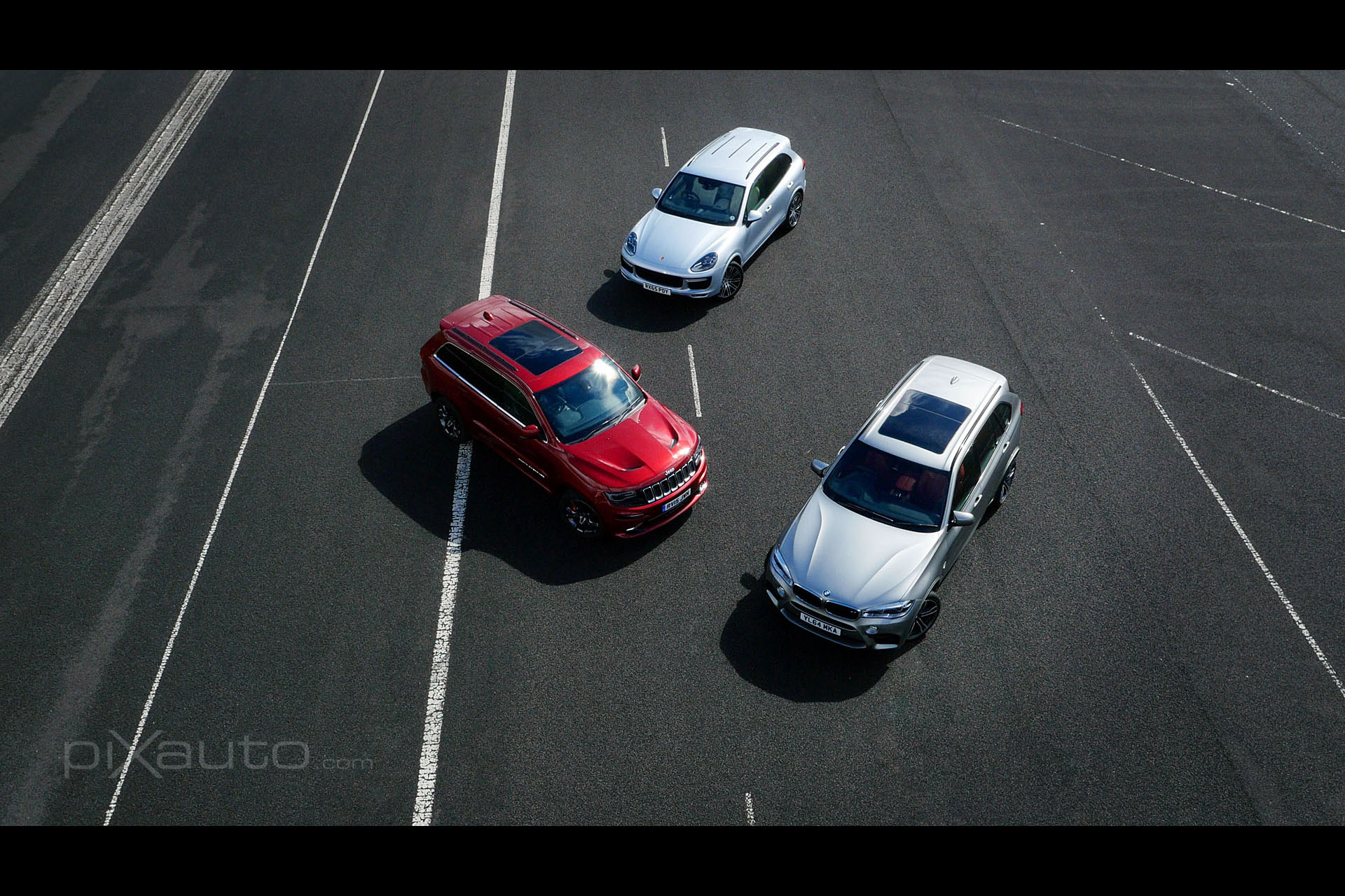 4x4 SUV aerial group shot