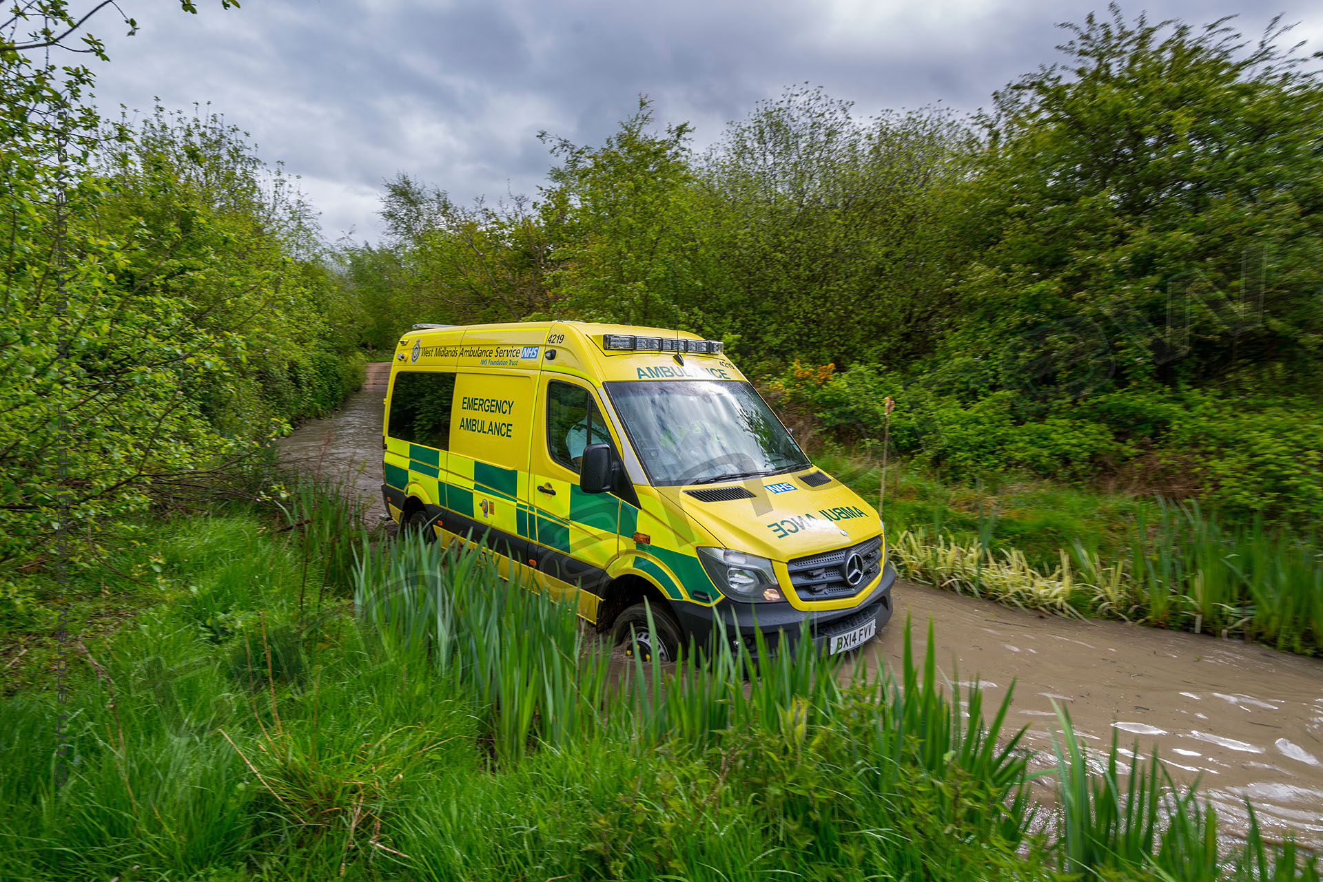 West Midlands Ambulance Service 4x4 Sprinter wading