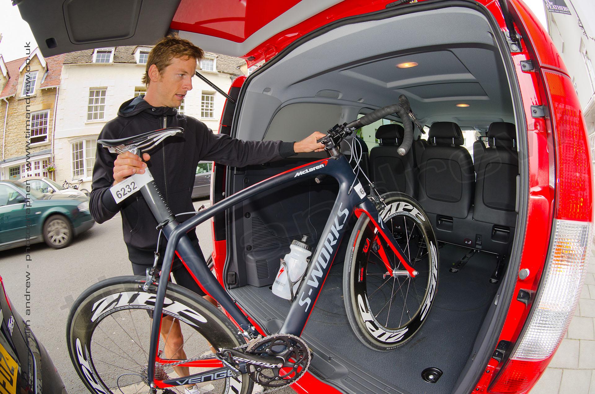 Jenson Button with McLaren S-Works triathlon bike