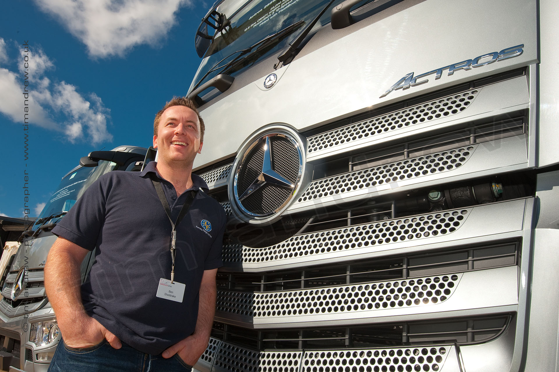 Ben Sheldrake portrait with Mercedes Benz Actros truck